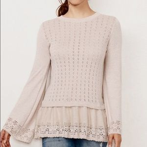 Lauren Conrad Pointelle babydoll sweater 🌸